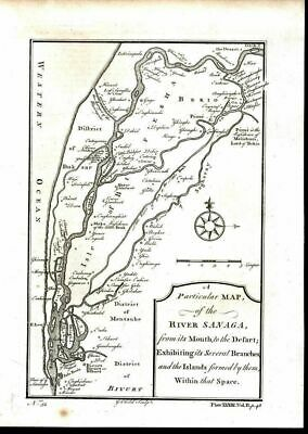 Several Branches & Extent of River Sanaga West Africa 1745 antique engraved map