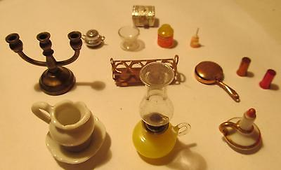 Dollhouse Lamp, Cup with Saucer, Candleholder, Frying Pan, Toy Dinner Bell, More