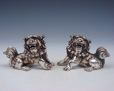 Pair Tibetan Silver Copper Crafted Feng-Shui Monster Foo Dog Lions #12121602
