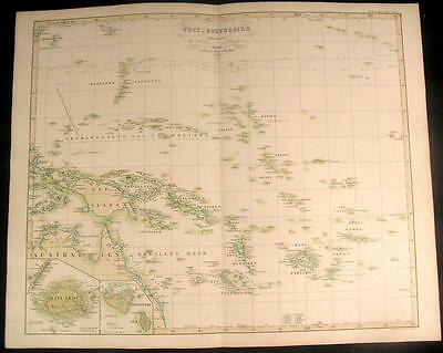 West Polynesia New Guinea Caledonia Samoa 1852 antique Berghaus color map