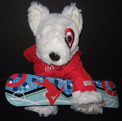 Target Bullseye Dog Snowboard Bull Terrier Plush Stuffed Animal Snowboarder Toy