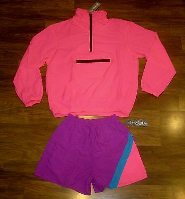 NEW Vtg 80s VBilt Neon Pink Womens MEDIUM windbreaker TRACK SUIT Jacket Shorts M