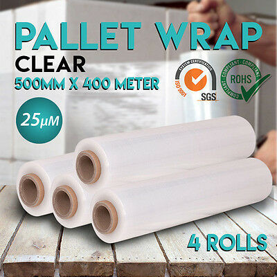 4 Rolls 500mm x 400m Clear Stretch Film Pallet Wrap Shrink Wrapping 25um