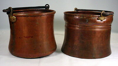 Pair of Hand Hammered Metal Forged Copper Buckets Vintage Fireplace Hearth