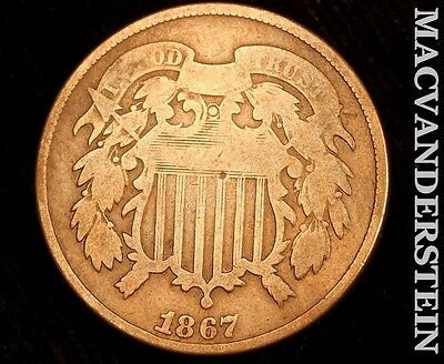 1867 Shield Two Cent- Scarce !! Better Date !! #r5812