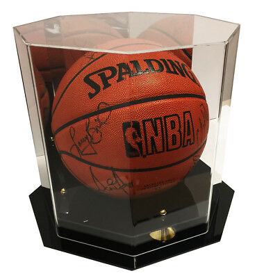Deluxe Octagon UV Protected Full Size Basketball Display Case w/ Mirror Back