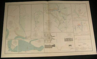 Defensive Line Fort Brady to Burnham c.1890s huge detailed antique Civil War map