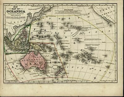 Oceana Polynesia Australia Malaysia New Zealand New Guinea nice 1839 antique map