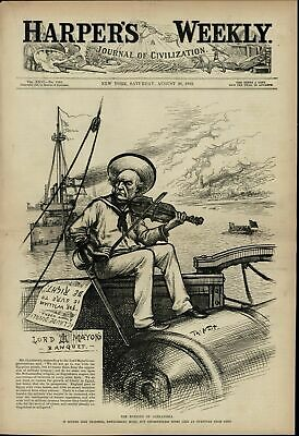 Burning of Alexandria War in Egypt Violin Player 1882 great old vintage print