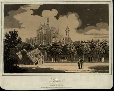 Leyden Netherlands cathedral view Palace Park 1807 scarce antique Holland print