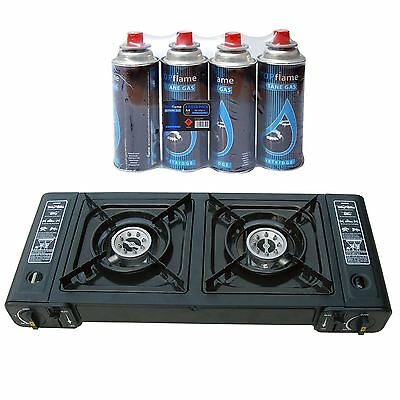 Portable Butane Double Twin Dual Burner Camping BBQ Gas Stove Cooker + 4 Refills