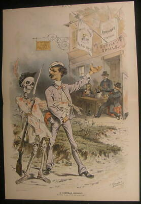 Veteran Recruit Soldier Skeleton Bloody Shirt 1887 rare color lithograph print