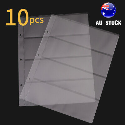 10 x Banknote Currency Album Sleeves Pages Paper Money Storage Holder 4 Pockets