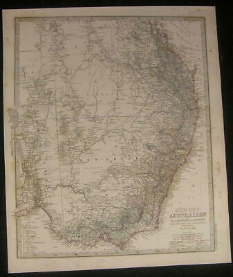 Australia Lake Torrens Kangaroo Island 1872 old engraved hand color map