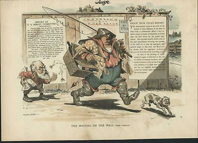 Writing on the Wall Senate Report c.1894 antique color lithograph print