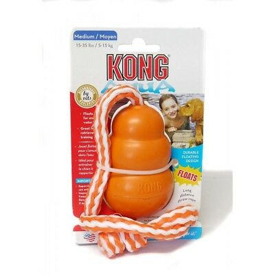 Kong Classic Dog Cool Aqua Water Floating Retrieval Fetch Toy On Rope
