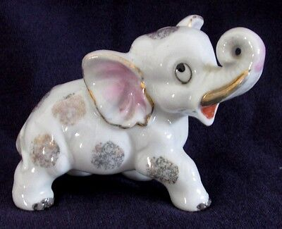 Vintage Elephant Figurine, White Porcelain, Made in Japan, Trunk Up = Good Luck