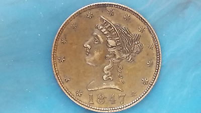 "1847 ""Californa Counter"" Brass gaming token Attractive EXTRA FINE"