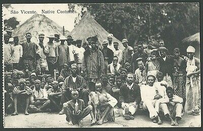 Sao Vicente Cape Verde Africa Native Costumes Vintage Printed Postcard