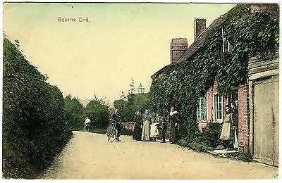 Colour Postcard Postman With Cycle-Villagers-Cottages-Bourne End-Herts Or Bucks