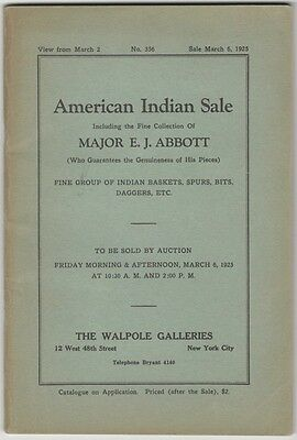 Antique American Indian Art Artifacts -Major E.J. Abbott Collection 1925 Catalog