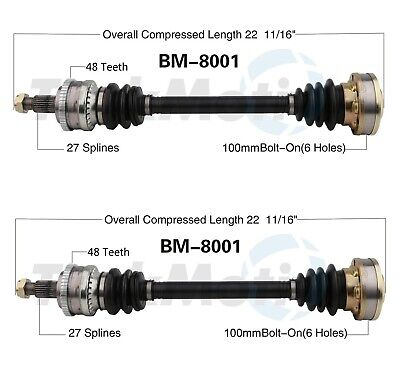 For BMW E30 318i 318is 325i M3 Pair Set of 2 Rear CV Axle Shaft Assemblies FEQ