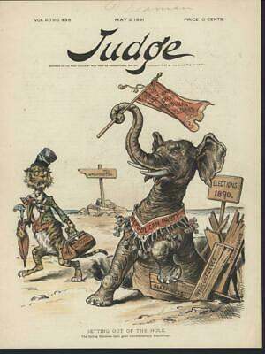 Republican will Rise Again Elephant 1891 antique color lithograph print