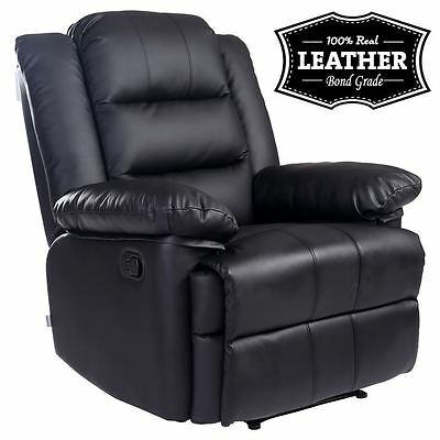 Loxley Black Leather Recliner Armchair Sofa Home Lounge Chair Reclining Gaming