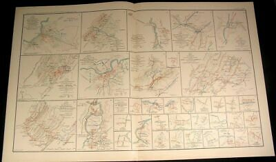 Cavalry Action Brock Gap Virginia c.1890s huge detailed antique Civil War map