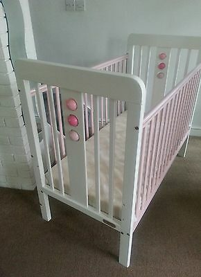 Cosatto bola cot white pink girls with mattress