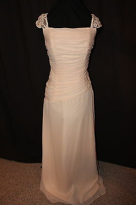NWT Size 10 Chiffon/lace light latte long formal evening gown, informal bridal