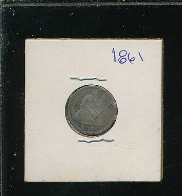 Liberty Silver Seated Dime - 1861 - Damaged With Cut