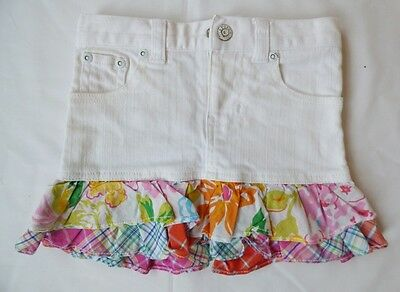 Girls 3T Ralph Lauren White Jean & Floral Checkered Fabric Skirt