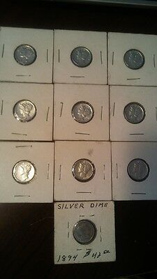 9 Uncirculated Coins 90% Silver Mercury Dimes Lot #735 Plus 1 Barber Total 10
