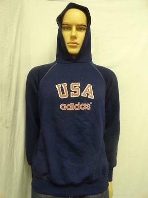 Vintage Adidas Navy-Multi Hooded Pullover Sweater Size: L (42-44)