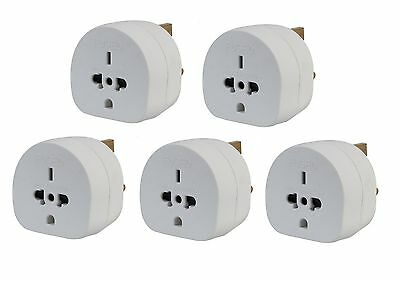 5x Pack of All Continents Worldwide to UK Travel Plug Power Mains Adaptor White