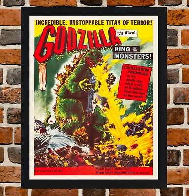Framed Godzilla Movie Poster A4 / A3 Size Mounted In Black / White Frame -