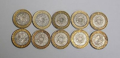 Lot of 10 Circulated, Assorted, Average British Two Pounds Coins
