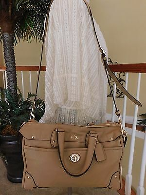 Coach Rhyder Tan Leather Satchel Shoulder Handbag F33689