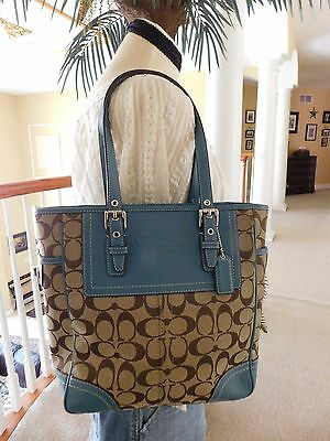 Coach Signature Canvas/Leather Brown Blue Tote Shoulder Handbag F10659