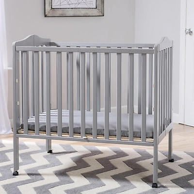 Delta Children Portable Folding Crib with Mattress - Grey
