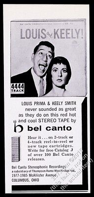 1960 Louis Prima Keely Smith photo Bel Canto Stereo Recordings vintage print ad