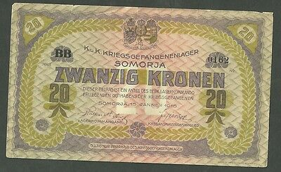 Currency Paper Money Note Austria / Somorja Prisoner War Note 1562 Twenty Kroken