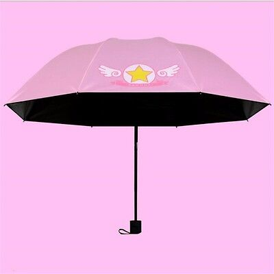 Anime Pink Card Captor Sakura Umbrella Multifunction Foldable Sunshade Cute