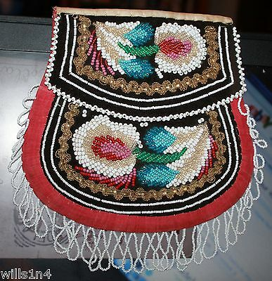 Mohawk 19th Century leaf design 2 flap  purse with minor  wear