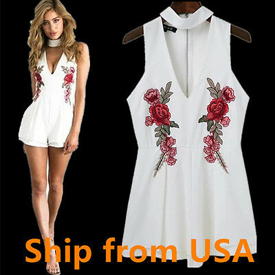 Womens Jumpsuit Romper Bodycon Pants V neck shorts dress embroidered White 6