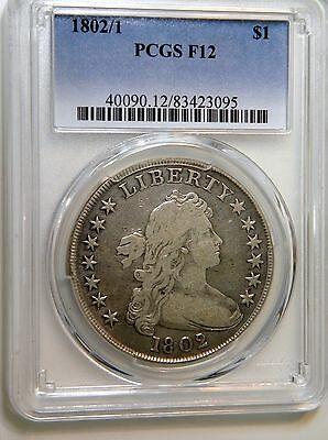 1802/1 Draped Bust $1 Pcgs F-12 Choice With Crisp Detail And Overdate