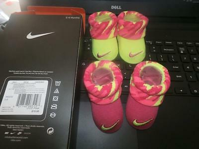 New Boys Nike Newborn Infant Baby Booties Socks Yellow Pink Size 0-6 Months