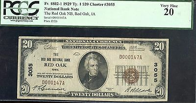 1929 PCGS 20VF National Banknote of Red Oak #3055 US $20 Currency Note JA608