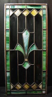 "Vintage Leaded Stained Glass Panel from Cabinet Door 14"" X 30"""